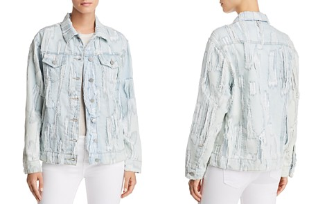 True Religion Trucker Shredded Denim Jacket in Cyan Cyclone - Bloomingdale's_2