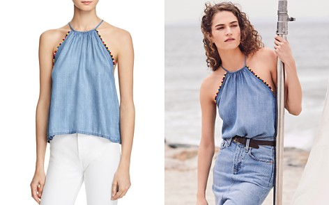 Honey Punch Pom-Pom Chambray Tank - Bloomingdale's_2