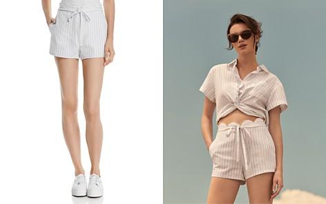 AQUA Scalloped Striped Linen Shorts - 100% Exclusive - Bloomingdale's_2