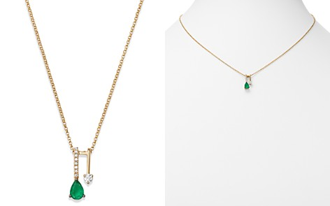 "Bloomingdale's Emerald Teardrop & Diamond Pendant Necklace in 14K Yellow Gold, 18"" - 100% Exclusive _2"