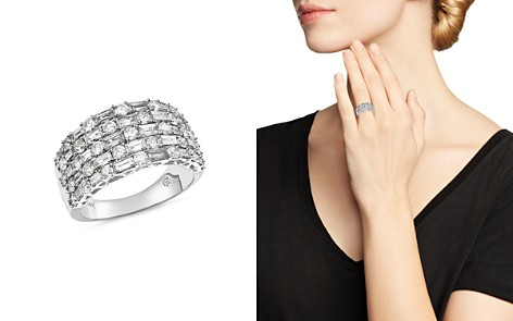 Bloomingdale's Five Row Diamond Baguette & Round Ring in 14K White Gold, 2.50 ct. t.w. - 100% Exclusive _2