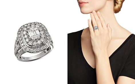 Bloomingdale's Diamond Mosaic & Double Halo Ring in 14K White Gold, 3.0 ct. t.w. - 100% Exclusive _2