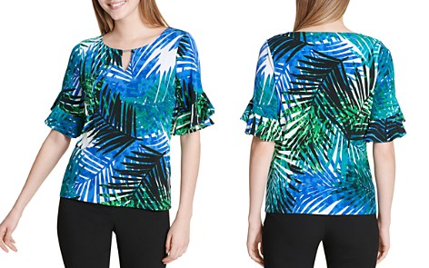 Calvin Klein Palm-Print Keyhole Top - Bloomingdale's_2
