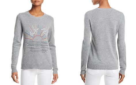 AQUA Sunset-Embroidered Cashmere Sweater - 100% Exclusive - Bloomingdale's_2