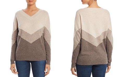 C by Bloomingdale's Color-Block V-Neck Cashmere Sweater - 100% Exclusive _2