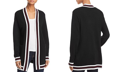 AQUA Cashmere Open-Front Varsity Cashmere Cardigan - 100% Exclusive - Bloomingdale's_2
