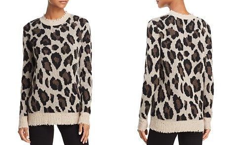 AQUA Animal Print Crewneck Cashmere Sweater - 100% Exclusive - Bloomingdale's_2