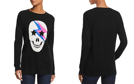 AQUA Cashmere Lightning Skull Cashmere Sweater - 100% Exclusive - Bloomingdale's_2
