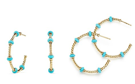 David Yurman Rio Rondelle Large Hoop Earrings with Turquoise & 18K Gold - Bloomingdale's_2
