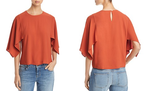 Eileen Fisher Handkerchief Sleeve Silk Top - Bloomingdale's_2