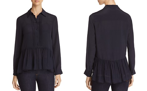 Emporio Armani Button-Down Silk Peplum Top - Bloomingdale's_2