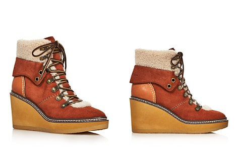 See by Chloe Women's Eileen Shearling-Lined Wedge Hiker Booties - 100% Exclusive - Bloomingdale's_2