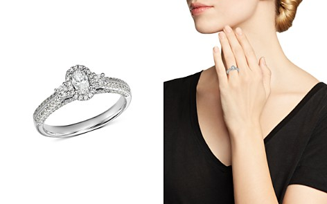 Bloomingdale's Oval Diamond & Double Pavé Shoulder Engagement Ring in 14K White Gold, 0.75 ct. t.w. - 100% Exclusive _2