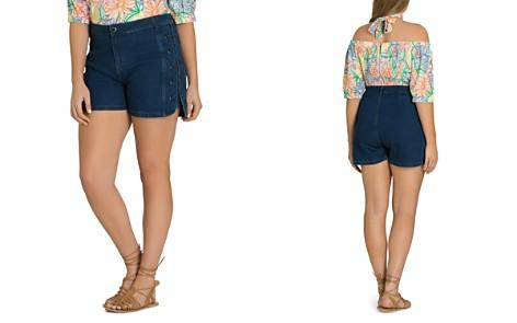 City Chic Plus Denim Lace-Up Shorts - Bloomingdale's_2