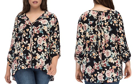 B Collection by Bobeau Curvy Floral Pleat-Back Top - Bloomingdale's_2