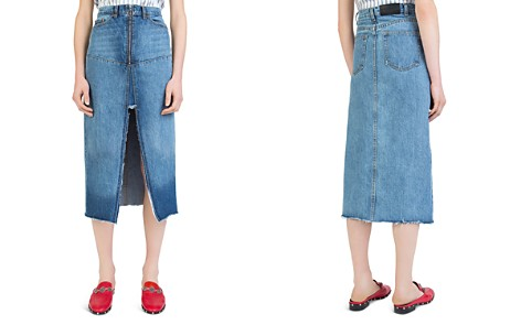 The Kooples Frayed Denim Midi Skirt - Bloomingdale's_2