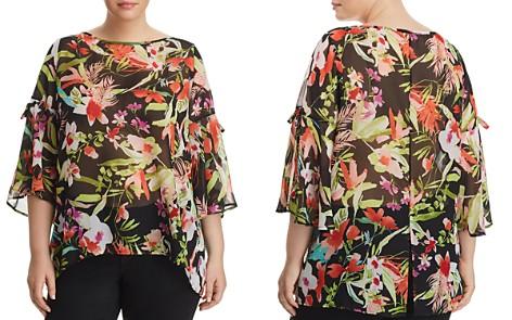 Status by Chenault Plus Tropical-Print Tie-Sleeve Top - Bloomingdale's_2