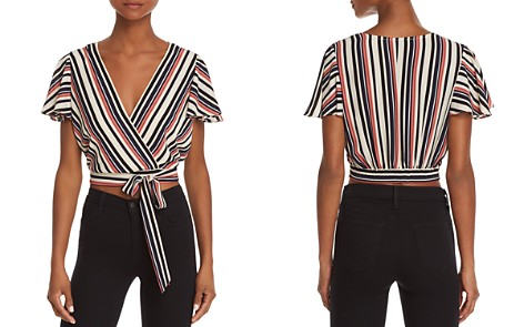 AQUA Striped Faux-Wrap Cropped Top - 100% Exclusive - Bloomingdale's_2