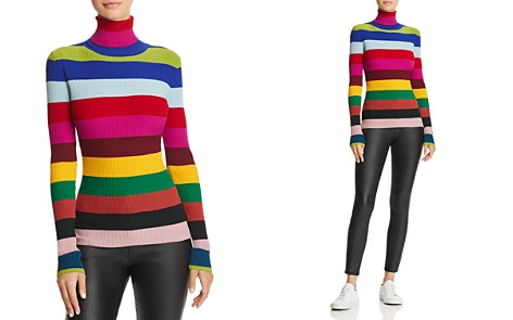 MILLY Rainbow Stripe Turtleneck - Bloomingdale's_2