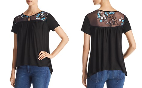 Kim & Cami Embroidered Illusion Top - Bloomingdale's_2