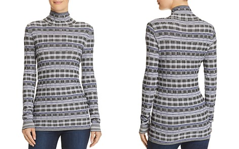 Theory Plaid Turtleneck Top - Bloomingdale's_2