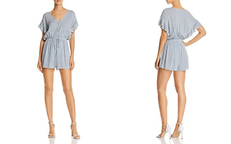 AQUA Ruffle-Sleeve Striped Romper - 100% Exclusive - Bloomingdale's_2
