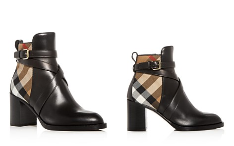 Burberry Women's Vaughan Vintage Check & Leather Block Heel Booties - Bloomingdale's_2