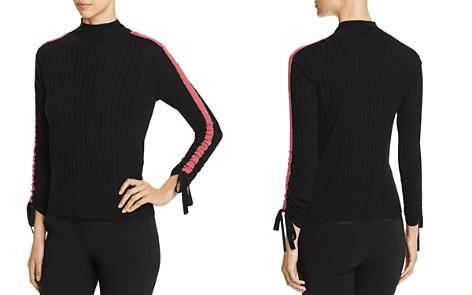 Emporio Armani Striped Sleeve & Tie Detail Wool Sweater - Bloomingdale's_2