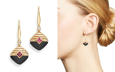 Olivia B 14K Yellow Gold Diamond, Matte Black Onyx & Rhodolite Garnet Drop Earrings - 100% Exclusive - Bloomingdale's_2