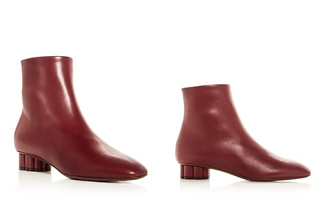 Salvatore Ferragamo Women's Molfetta Leather Floral Heel Booties - Bloomingdale's_2