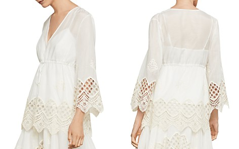 BCBGMAXAZRIA Mosaic Embroidered-Trim Drawstring Top - Bloomingdale's_2