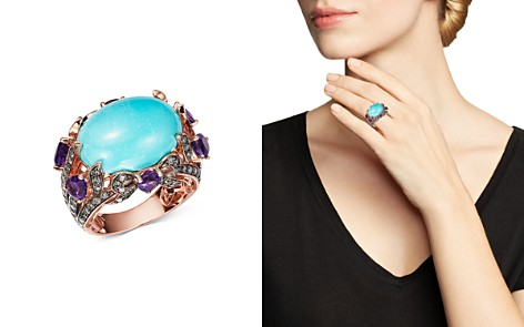 Bloomingdale's Turquoise, Amethyst & Brown Diamond Statement Ring in 14K Rose Gold - 100% Exclusive_2
