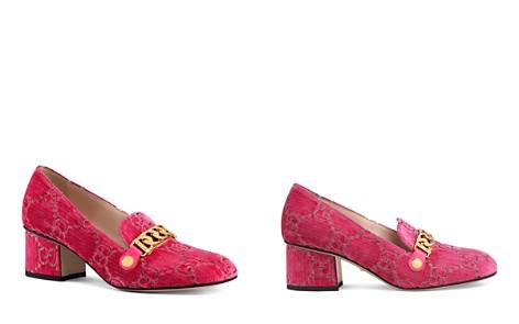 Gucci Women's Sylvie Almond Toe Velvet Mid-Heel Pumps - Bloomingdale's_2
