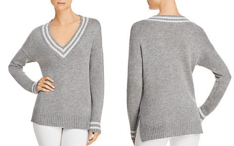 AQUA Varsity V-Neck Sweater - 100% Exclusive - Bloomingdale's_2