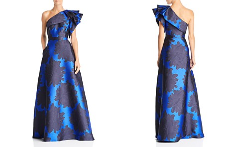 Adrianna Papell Floral-Jacquard One-Shoulder Gown - Bloomingdale's_2