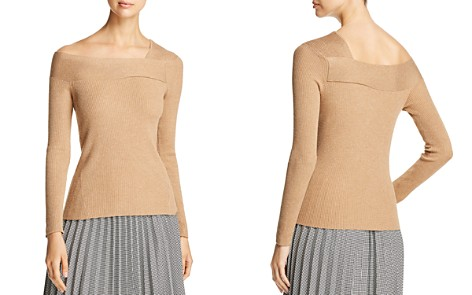 Donna Karan New York Ribbed Asymmetric Neck Sweater - Bloomingdale's_2