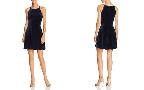 AQUA Scalloped Velvet Fit-and-Flare Dress - 100% Exclusive - Bloomingdale's_2