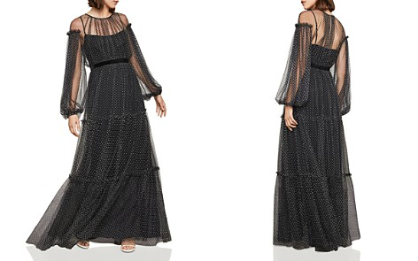 BCBGMAXAZRIA Flocked Polka Dot Mesh Gown - Bloomingdale's_2