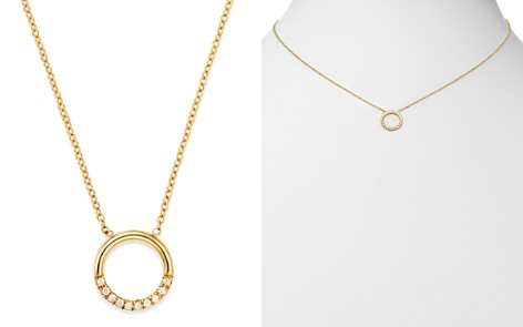 "Zoë Chicco 14K Yellow Gold Small Thick Circle Pavé Diamond Adjustable Necklace, 16"" - Bloomingdale's_2"