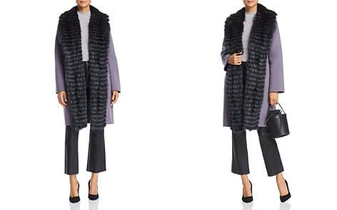 Maximilian Furs Fox Fur Tuxedo Trim Wool Coat - 100% Exclusive - Bloomingdale's_2