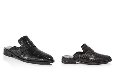 Freda Salvador Women's Keen Almond Toe Croc-Embossed Leather Mules - Bloomingdale's_2
