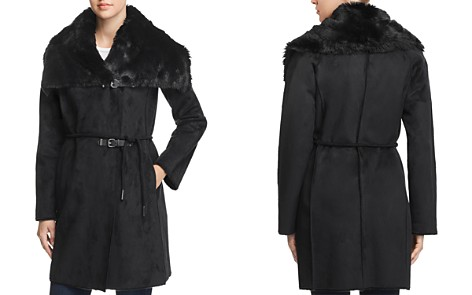 Calvin Klein Faux Shearling Double Belted Coat - Bloomingdale's_2