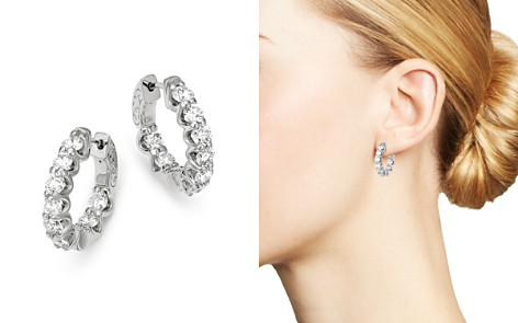 Bloomingdale's Diamond Inside Out Mini Hoop Earrings in 14K White Gold, 2.40 ct. t.w. - 100% Exclusive_2