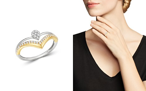 Bloomingdale's Diamond Chevron Ring in 14K White Gold & 14K Yellow Gold, 0.25 ct. t.w. - 100% Exclusive_2