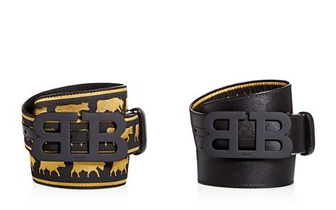 Bally Matte Mirror B Buckle Reversible Cow Print Belt - Bloomingdale's_2