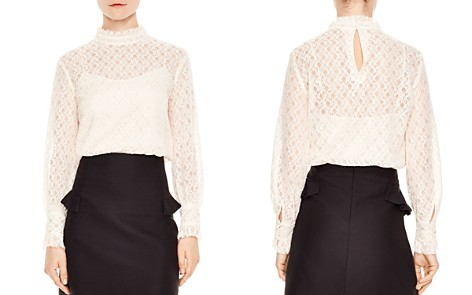 Sandro Cacahuete Crosshatched Lace Top - Bloomingdale's_2