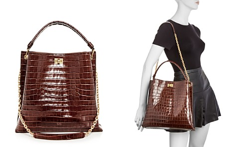 Max Mara Croc-Embossed Small Leather Hobo - Bloomingdale's_2