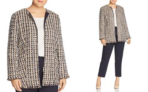 Lafayette 148 New York Plus Frayed Tweed Zip Jacket - Bloomingdale's_2