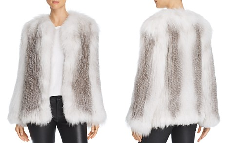 Peri Luxe Marble Knitted Fox Fur Jacket - Bloomingdale's_2