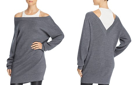 T by Alexander Wang Layered-Look Cold-Shoulder Tunic Sweater - Bloomingdale's_2
